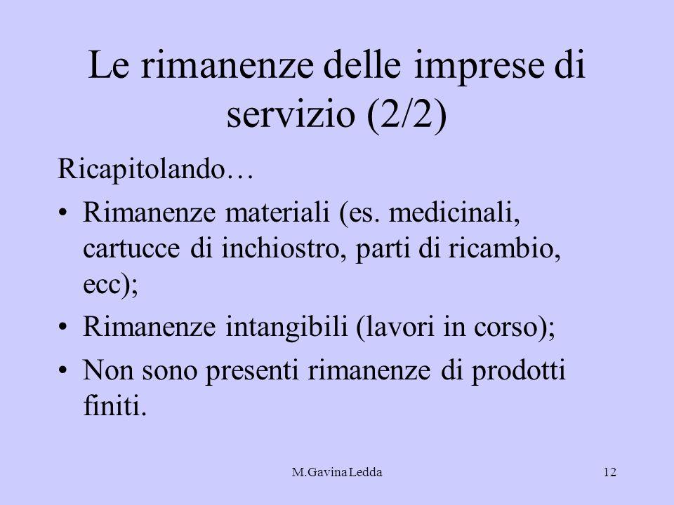 M.Gavina Ledda12 Le rimanenze delle imprese di servizio (2/2) Ricapitolando… Rimanenze materiali (es. medicinali, cartucce di inchiostro, parti di ric