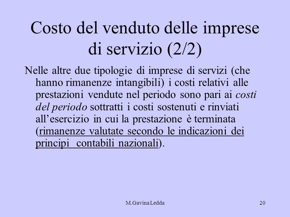 M.Gavina Ledda20 Costo del venduto delle imprese di servizio (2/2) Nelle altre due tipologie di imprese di servizi (che hanno rimanenze intangibili) i