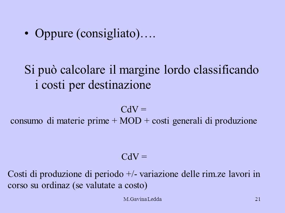 M.Gavina Ledda21 Oppure (consigliato)…. Si può calcolare il margine lordo classificando i costi per destinazione CdV = consumo di materie prime + MOD