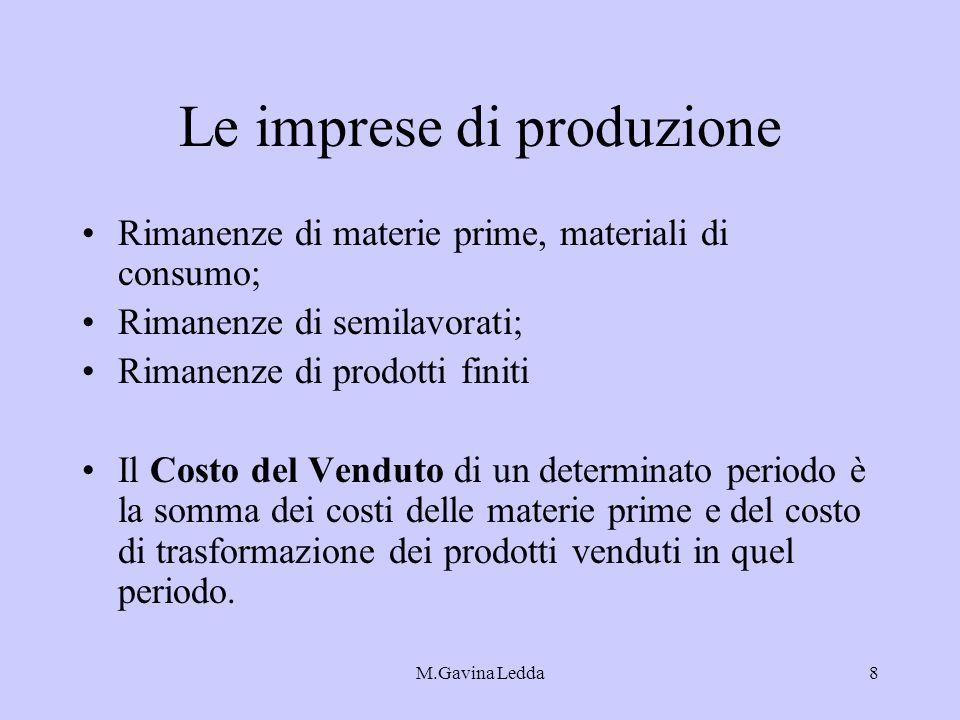 M.Gavina Ledda8 Le imprese di produzione Rimanenze di materie prime, materiali di consumo; Rimanenze di semilavorati; Rimanenze di prodotti finiti Il