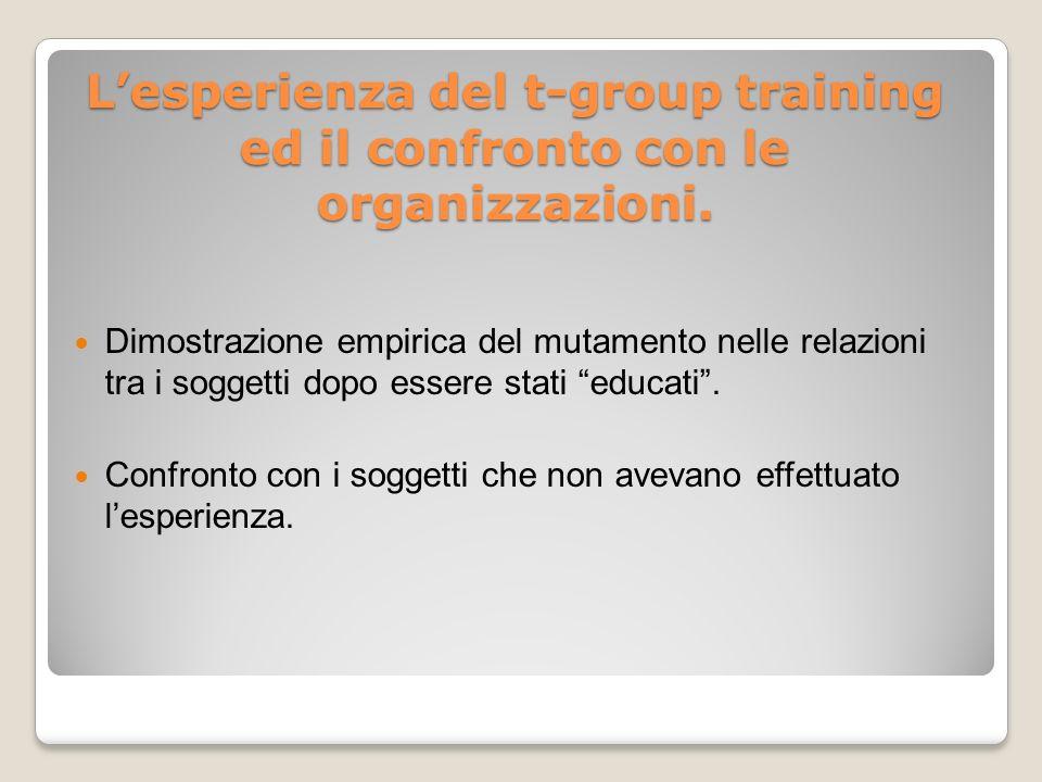 Lesperienza del t-group training ed il confronto con le organizzazioni.
