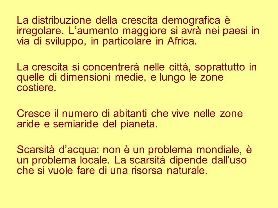La distribuzione della crescita demografica è irregolare. Laumento maggiore si avrà nei paesi in via di sviluppo, in particolare in Africa. La crescit