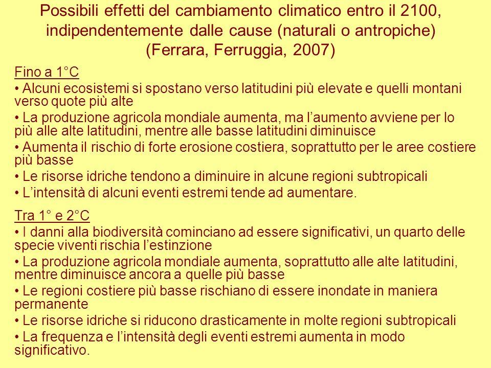 Possibili effetti del cambiamento climatico entro il 2100, indipendentemente dalle cause (naturali o antropiche) (Ferrara, Ferruggia, 2007) Fino a 1°C