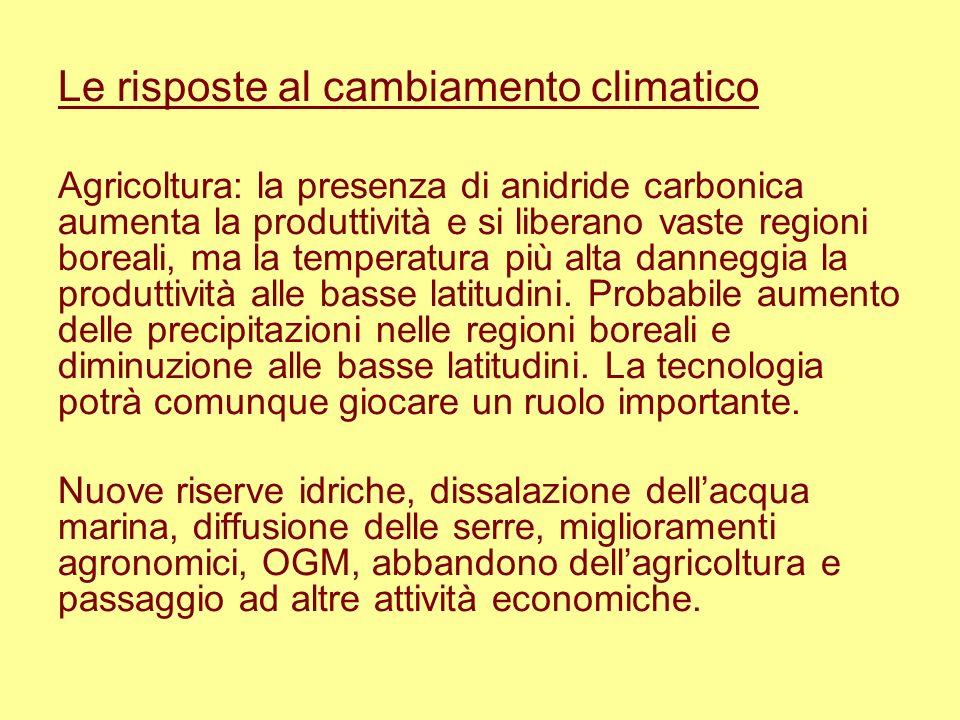 Le risposte al cambiamento climatico Agricoltura: la presenza di anidride carbonica aumenta la produttività e si liberano vaste regioni boreali, ma la