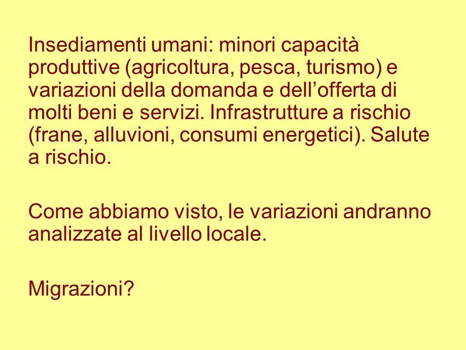 Insediamenti umani: minori capacità produttive (agricoltura, pesca, turismo) e variazioni della domanda e dellofferta di molti beni e servizi. Infrast