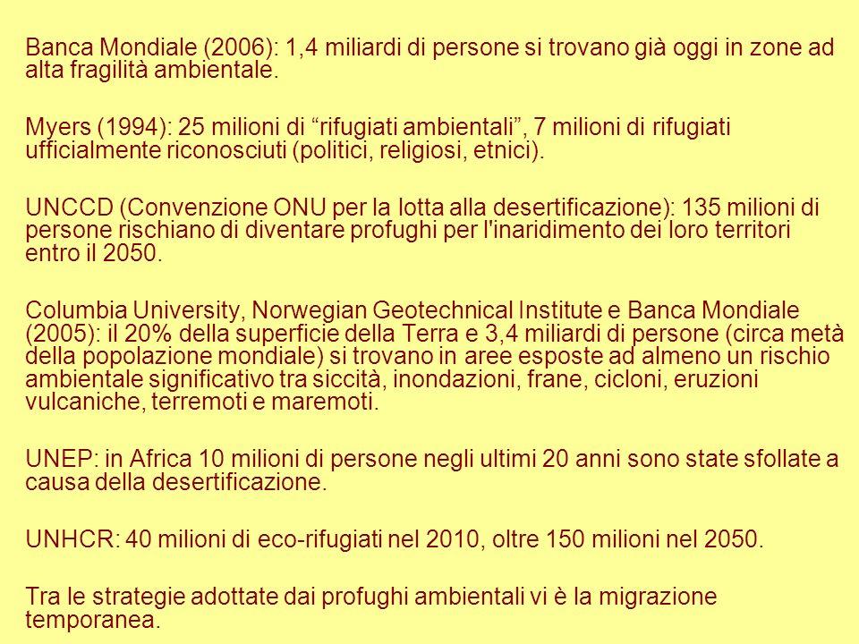 Banca Mondiale (2006): 1,4 miliardi di persone si trovano già oggi in zone ad alta fragilità ambientale. Myers (1994): 25 milioni di rifugiati ambient