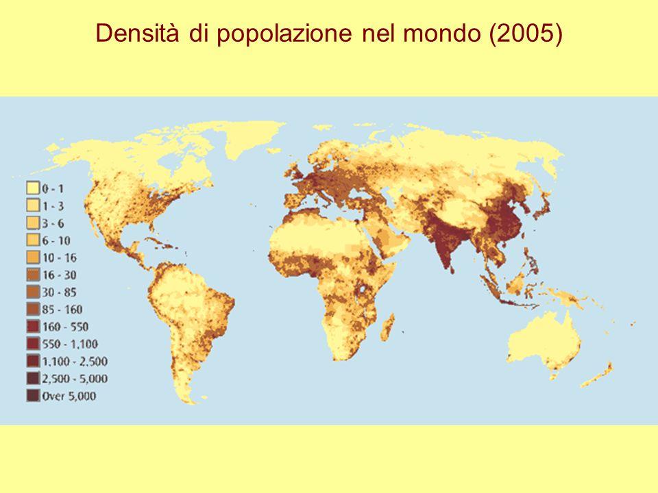 Densità di popolazione nel mondo (2005)