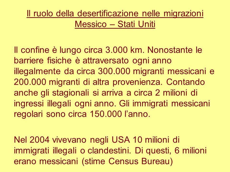 Il ruolo della desertificazione nelle migrazioni Messico – Stati Uniti Il confine è lungo circa 3.000 km. Nonostante le barriere fisiche è attraversat