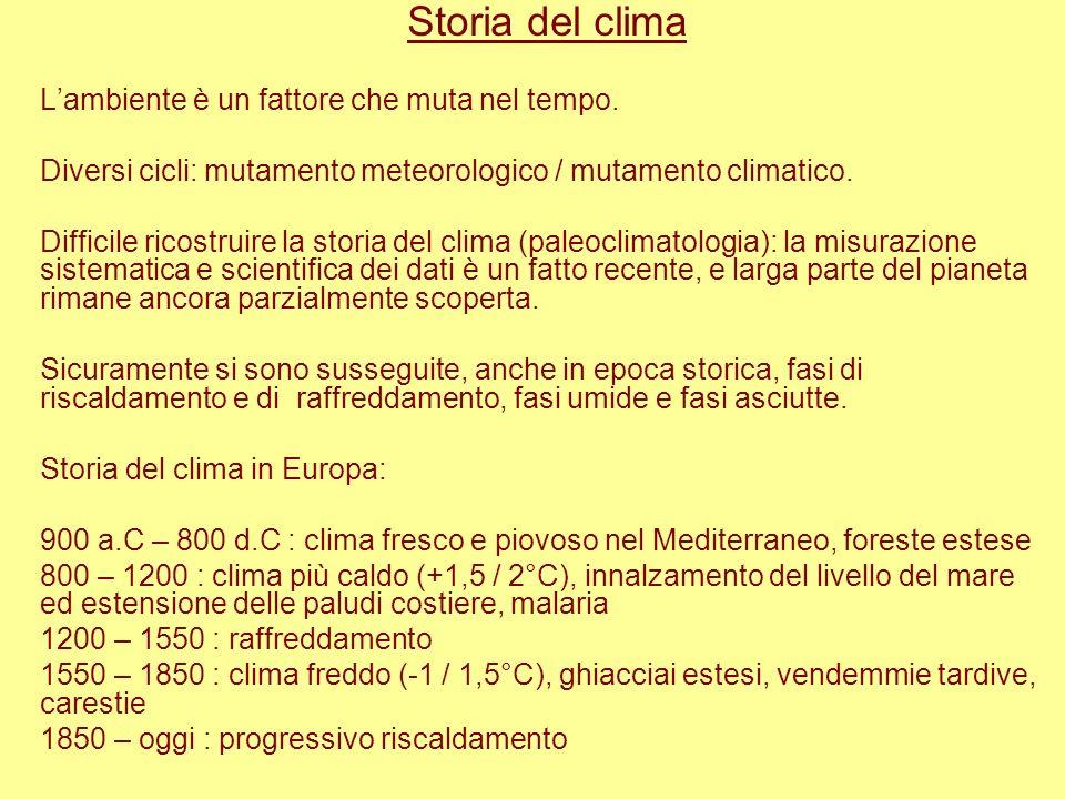 Storia del clima Lambiente è un fattore che muta nel tempo. Diversi cicli: mutamento meteorologico / mutamento climatico. Difficile ricostruire la sto