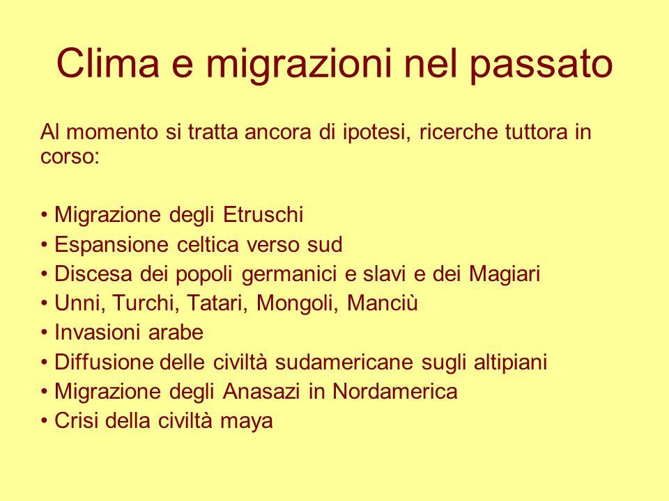 Clima e migrazioni nel passato Al momento si tratta ancora di ipotesi, ricerche tuttora in corso: Migrazione degli Etruschi Espansione celtica verso s