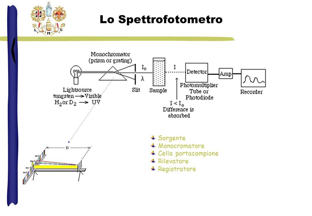 Lo Spettrofotometro Sorgente Monocromatore Cella portacampione Rilevatore Registratore