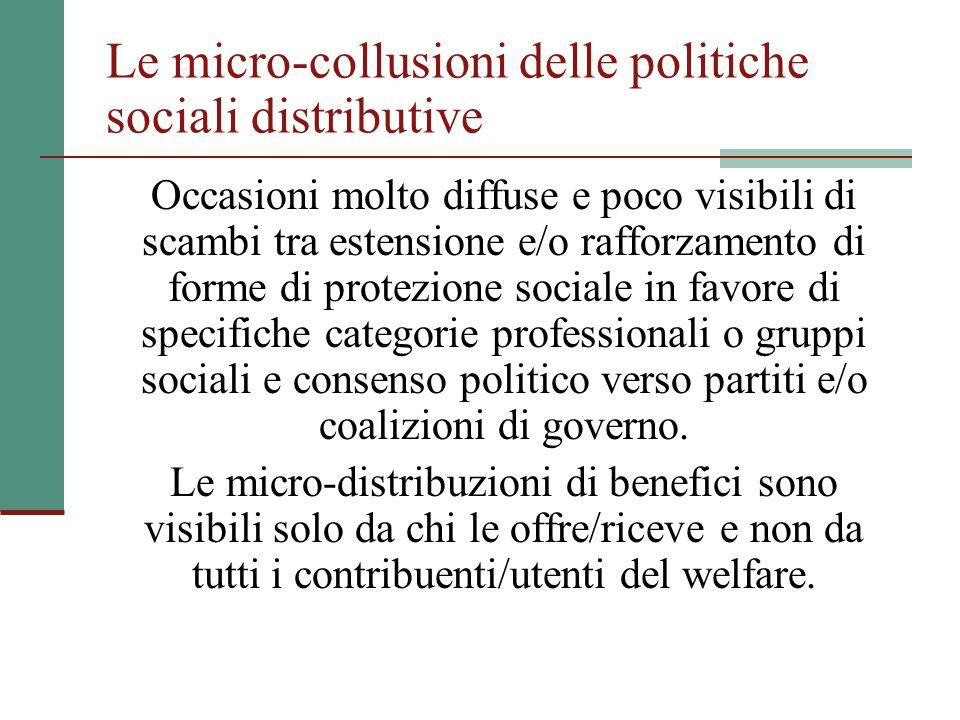 Le micro-collusioni delle politiche sociali distributive Occasioni molto diffuse e poco visibili di scambi tra estensione e/o rafforzamento di forme d