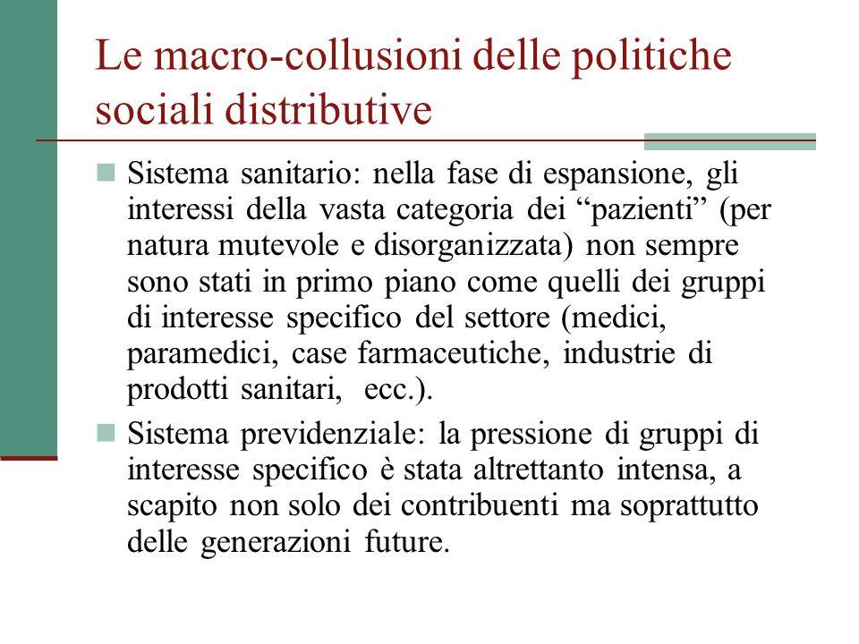 Le macro-collusioni delle politiche sociali distributive Sistema sanitario: nella fase di espansione, gli interessi della vasta categoria dei pazienti