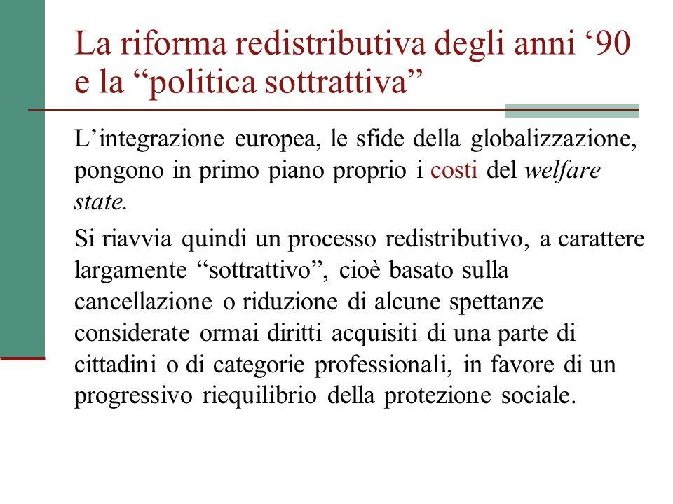 La riforma redistributiva degli anni 90 e la politica sottrattiva Lintegrazione europea, le sfide della globalizzazione, pongono in primo piano propri