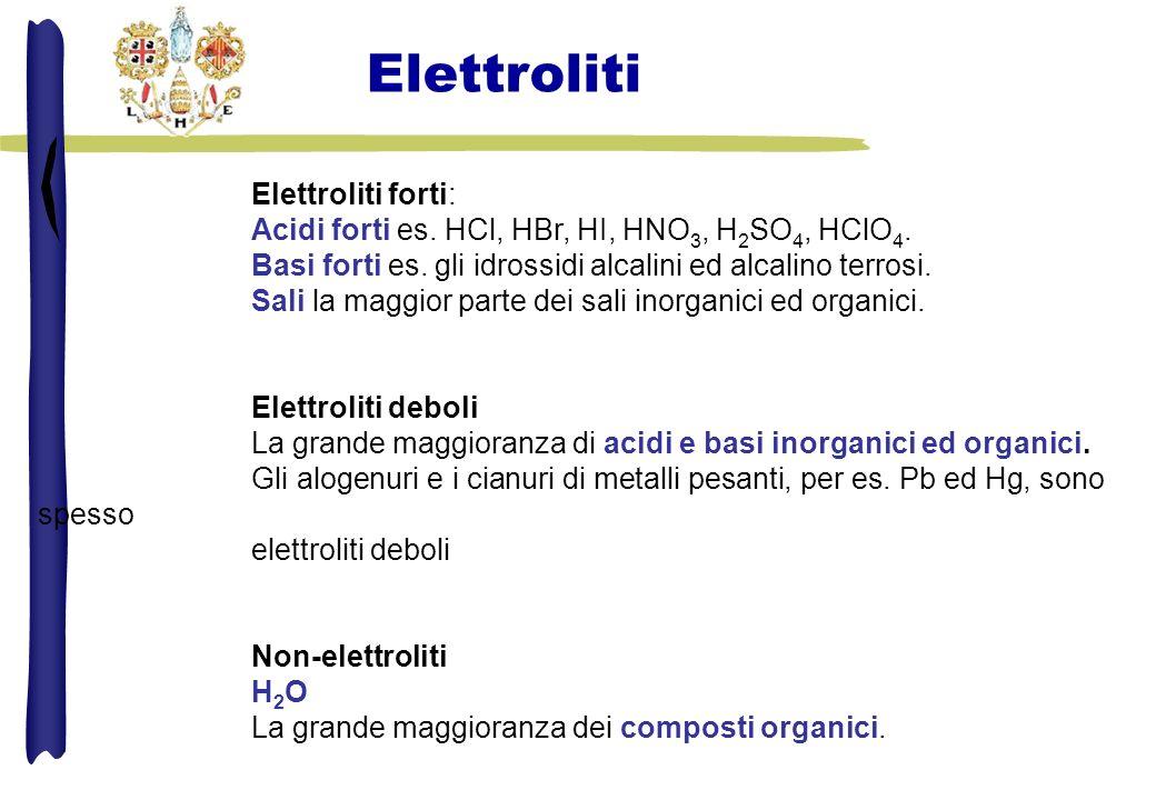 Elettroliti forti: Acidi forti es.HCl, HBr, HI, HNO 3, H 2 SO 4, HClO 4.