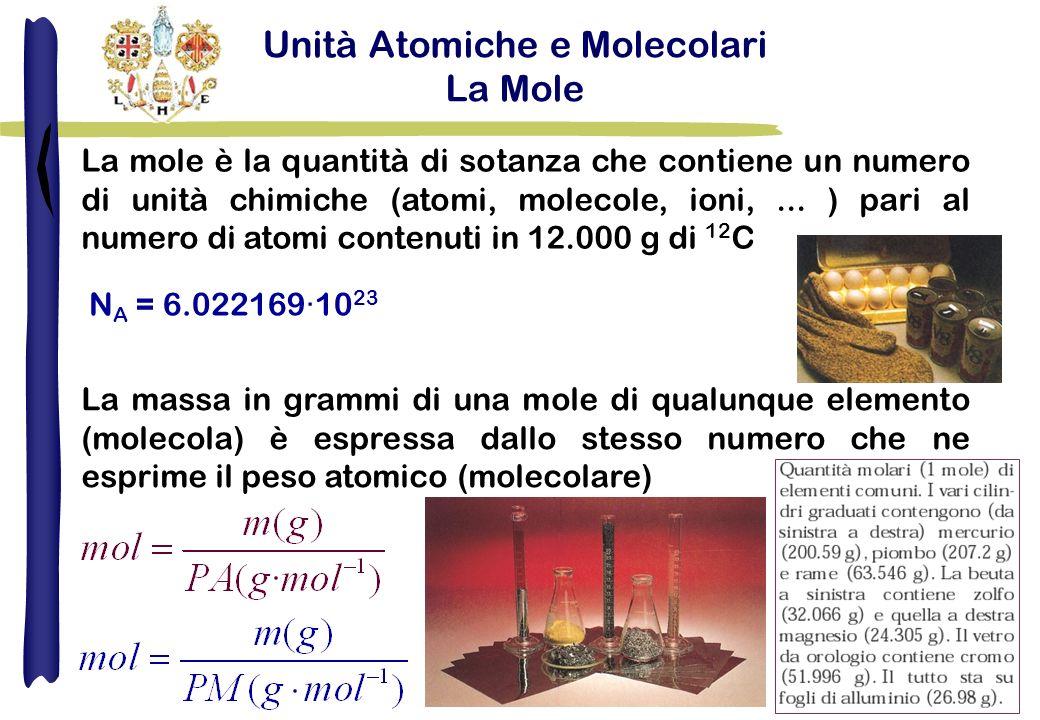 Unità Atomiche e Molecolari La Mole La mole è la quantità di sotanza che contiene un numero di unità chimiche (atomi, molecole, ioni,...