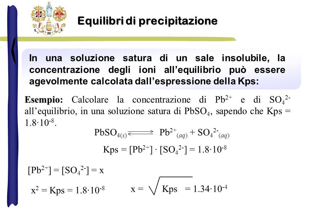 In una soluzione satura di un sale insolubile, la concentrazione degli ioni allequilibrio può essere agevolmente calcolata dallespressione della Kps: Esempio: Esempio: Calcolare la concentrazione di Pb 2+ e di SO 4 2- allequilibrio, in una soluzione satura di PbSO 4, sapendo che Kps = 1.8·10 -8.