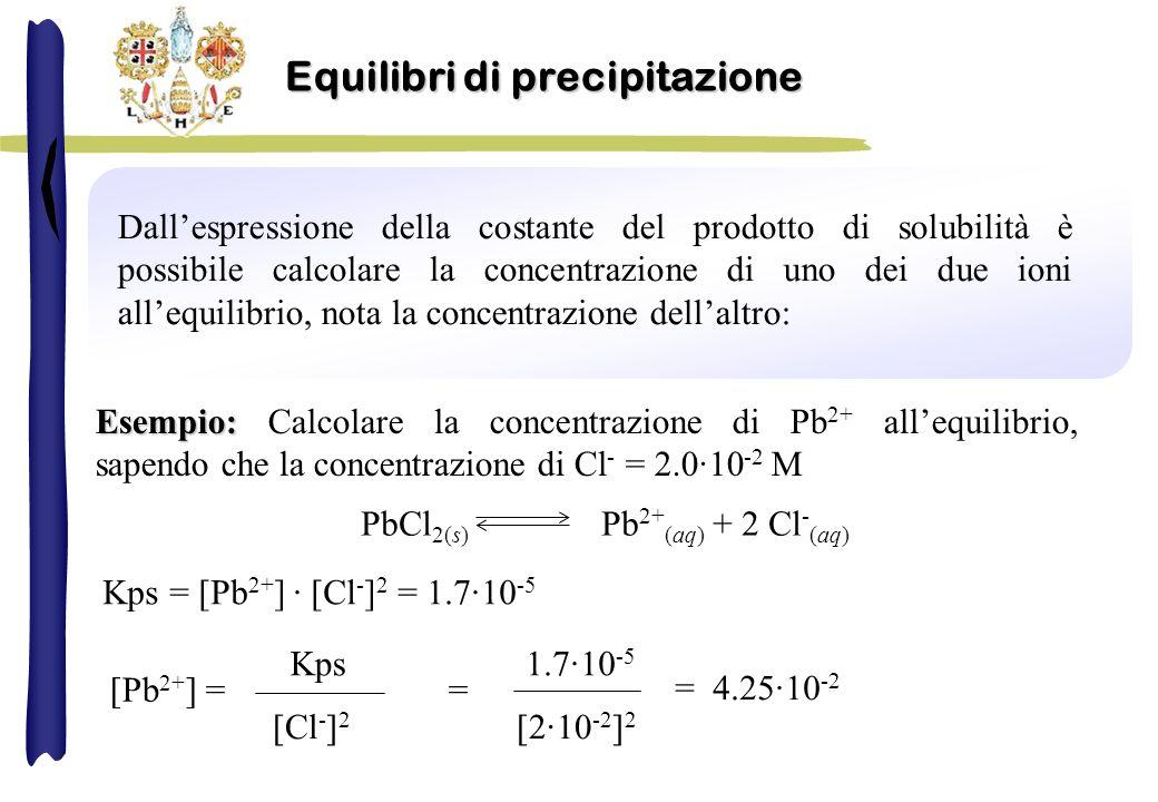 Dallespressione della costante del prodotto di solubilità è possibile calcolare la concentrazione di uno dei due ioni allequilibrio, nota la concentrazione dellaltro: PbCl 2(s) Pb 2+ (aq) + 2 Cl - (aq) Kps = [Pb 2+ ] · [Cl - ] 2 = 1.7·10 -5 Esempio: Esempio: Calcolare la concentrazione di Pb 2+ allequilibrio, sapendo che la concentrazione di Cl - = 2.0·10 -2 M [Pb 2+ ] = = Kps [Cl - ] 2 1.7·10 -5 [2·10 -2 ] 2 = 4.25·10 -2 Equilibri di precipitazione