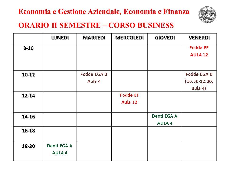 Economia e Gestione Aziendale, Economia e Finanza ORARIO II SEMESTRE – CORSO BUSINESSLUNEDIMARTEDIMERCOLEDIGIOVEDIVENERDI8-10 Fodde EF AULA 12 10-12 Fodde EGA B Aula 4 Fodde EGA B (10.30-12.30, aula 4) 12-14 Fodde EF Aula 12 14-16 Denti EGA A AULA 4 16-18 18-20 Denti EGA A AULA 4