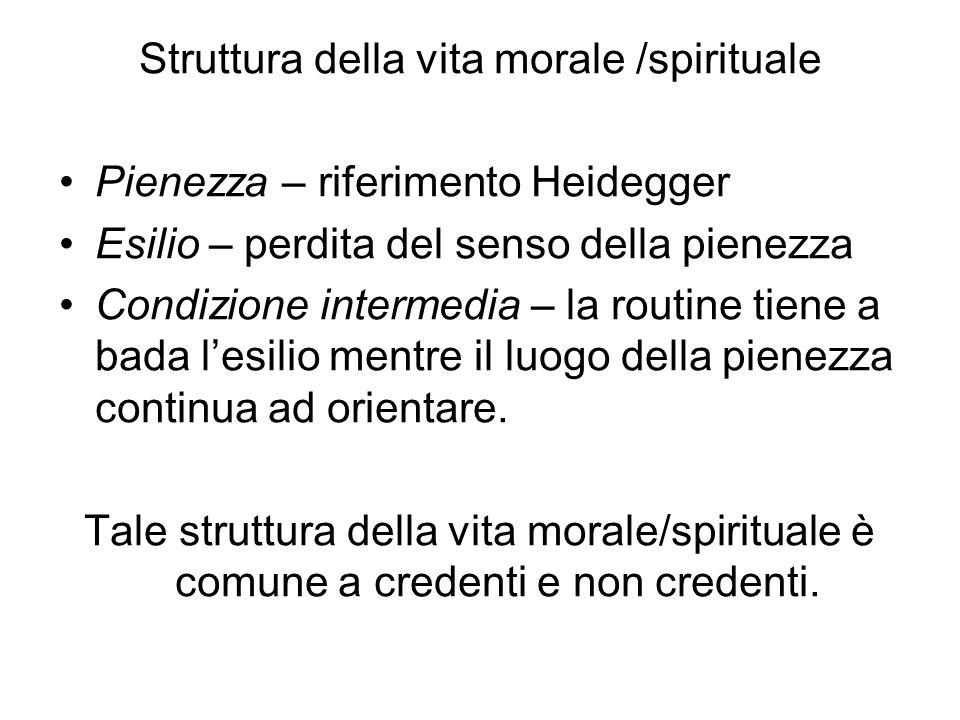 Struttura della vita morale /spirituale Pienezza – riferimento Heidegger Esilio – perdita del senso della pienezza Condizione intermedia – la routine