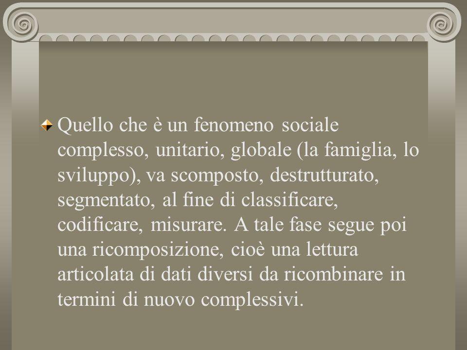 Quello che è un fenomeno sociale complesso, unitario, globale (la famiglia, lo sviluppo), va scomposto, destrutturato, segmentato, al fine di classifi