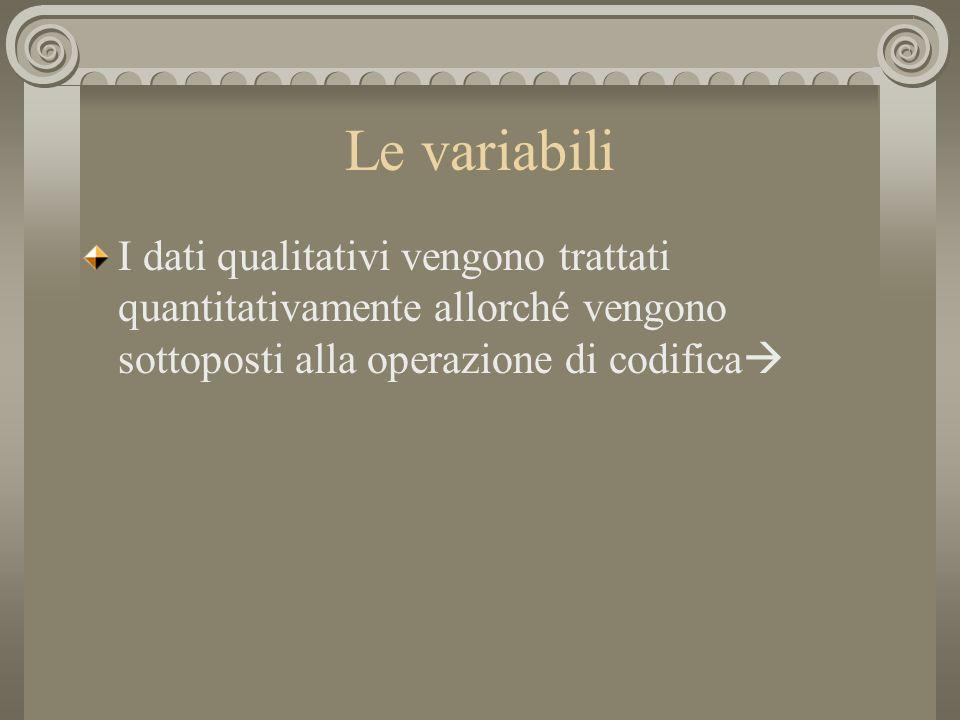 Le variabili I dati qualitativi vengono trattati quantitativamente allorché vengono sottoposti alla operazione di codifica