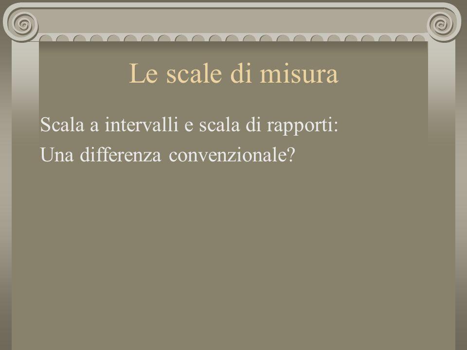 Le scale di misura Scala a intervalli e scala di rapporti: Una differenza convenzionale?