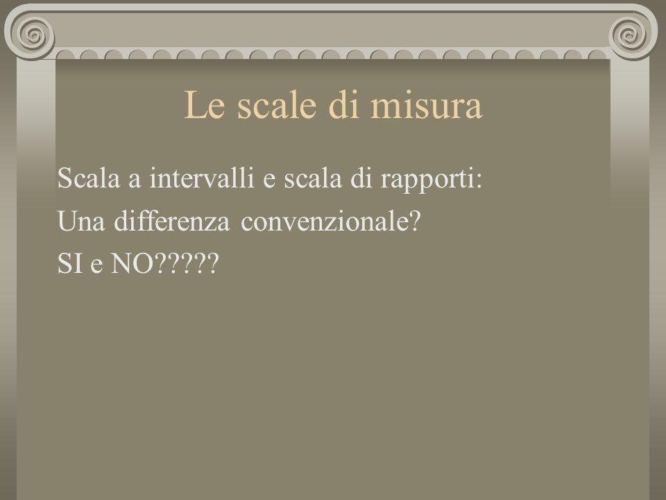 Le scale di misura Scala a intervalli e scala di rapporti: Una differenza convenzionale? SI e NO?????