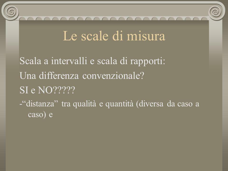 Le scale di misura Scala a intervalli e scala di rapporti: Una differenza convenzionale? SI e NO????? -distanza tra qualità e quantità (diversa da cas