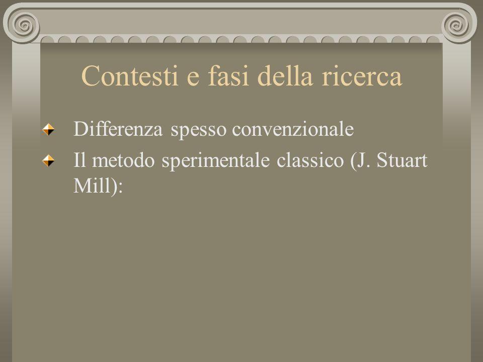 Contesti e fasi della ricerca Differenza spesso convenzionale Il metodo sperimentale classico (J. Stuart Mill):