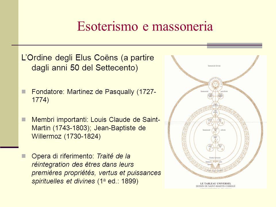 Esoterismo e massoneria LOrdine degli Elus Coëns (a partire dagli anni 50 del Settecento) Fondatore: Martinez de Pasqually (1727- 1774) Membri importa