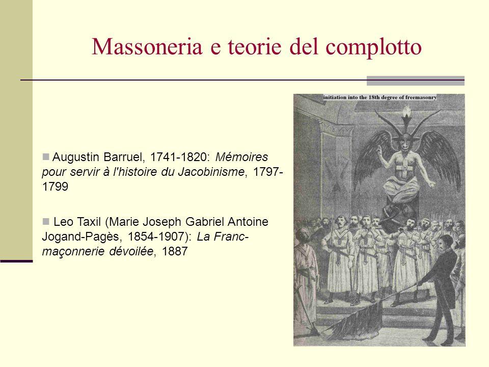 Massoneria e teorie del complotto Augustin Barruel, 1741-1820: Mémoires pour servir à l'histoire du Jacobinisme, 1797- 1799 Leo Taxil (Marie Joseph Ga