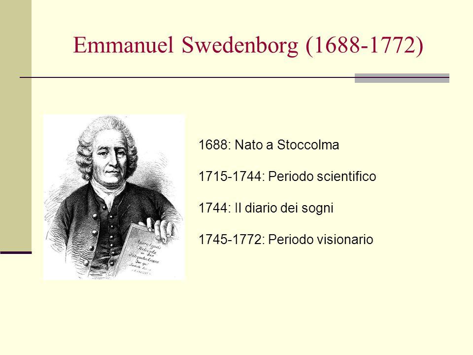 Emmanuel Swedenborg (1688-1772) 1688: Nato a Stoccolma 1715-1744: Periodo scientifico 1744: Il diario dei sogni 1745-1772: Periodo visionario