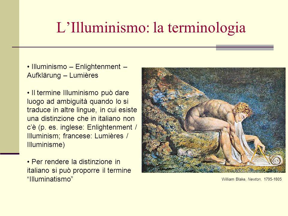 LIlluminismo: la terminologia Illuminismo – Enlightenment – Aufklärung – Lumières Il termine Illuminismo può dare luogo ad ambiguità quando lo si trad
