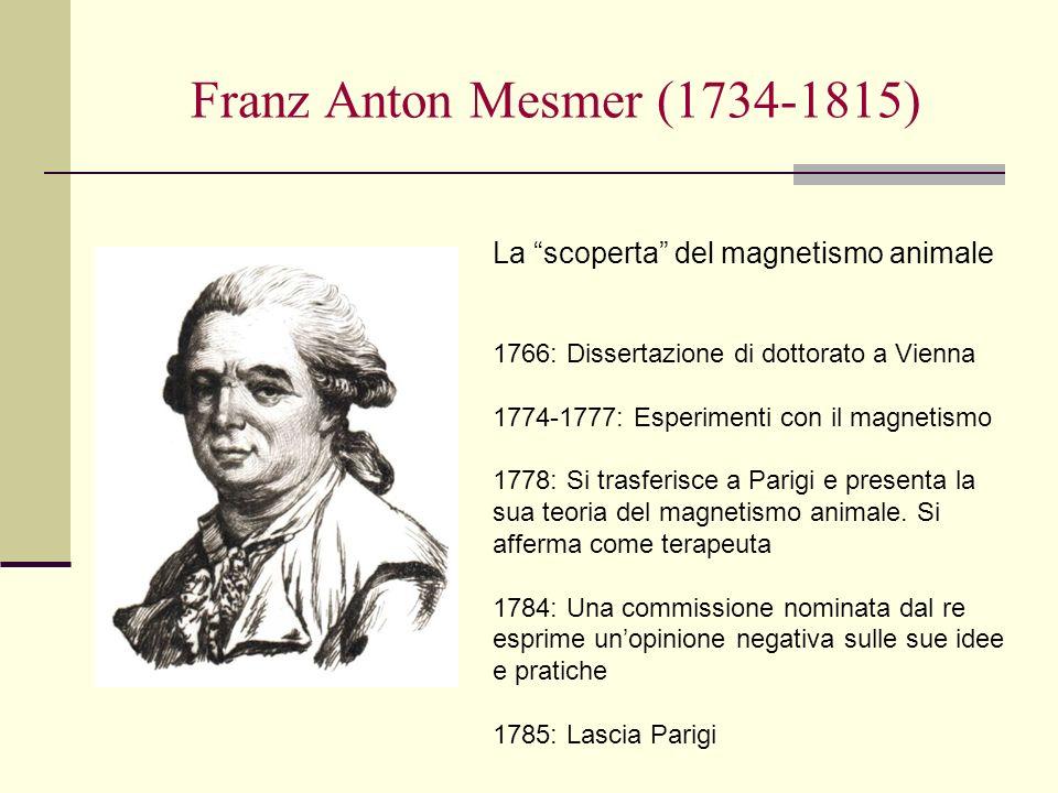 Franz Anton Mesmer (1734-1815) La scoperta del magnetismo animale 1766: Dissertazione di dottorato a Vienna 1774-1777: Esperimenti con il magnetismo 1