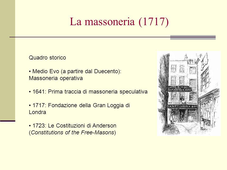 La massoneria (1717) Quadro storico Medio Evo (a partire dal Duecento): Massoneria operativa 1641: Prima traccia di massoneria speculativa 1717: Fonda