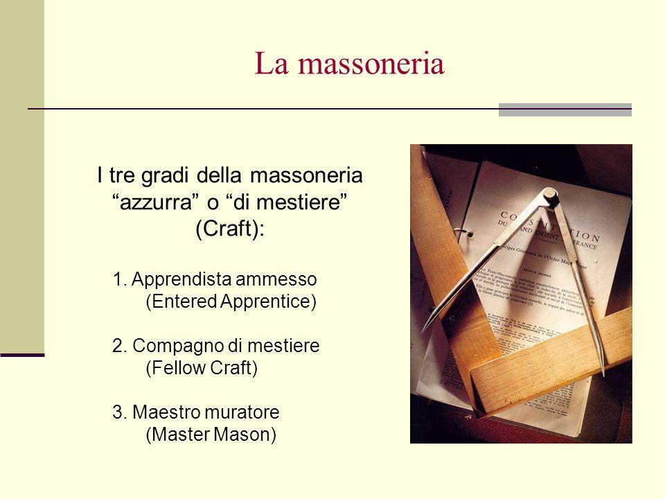 La massoneria I tre gradi della massoneria azzurra o di mestiere (Craft): 1. Apprendista ammesso (Entered Apprentice) 2. Compagno di mestiere (Fellow