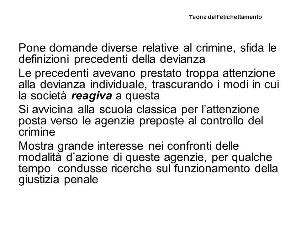 Teoria delletichettamento Pone domande diverse relative al crimine, sfida le definizioni precedenti della devianza Le precedenti avevano prestato trop