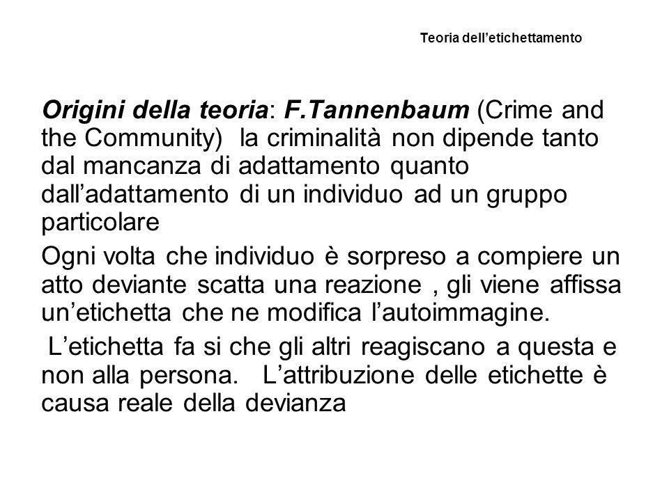 Teoria delletichettamento Origini della teoria: F.Tannenbaum (Crime and the Community) la criminalità non dipende tanto dal mancanza di adattamento qu