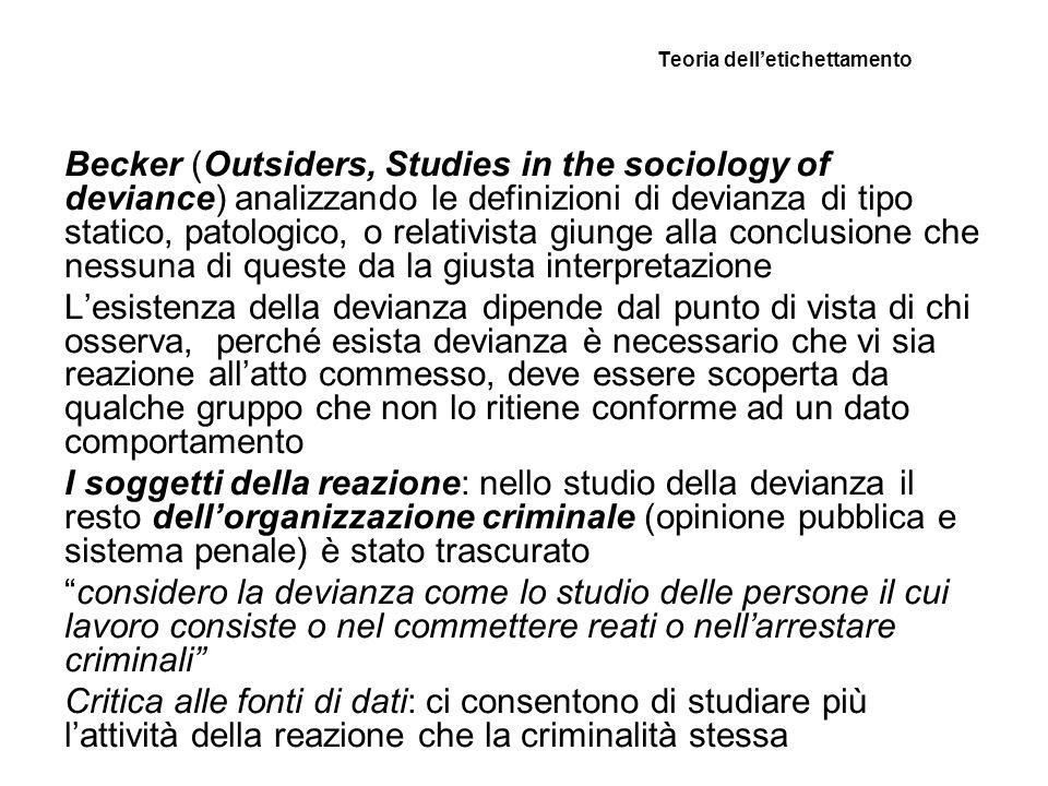 Teoria delletichettamento Becker (Outsiders, Studies in the sociology of deviance) analizzando le definizioni di devianza di tipo statico, patologico,