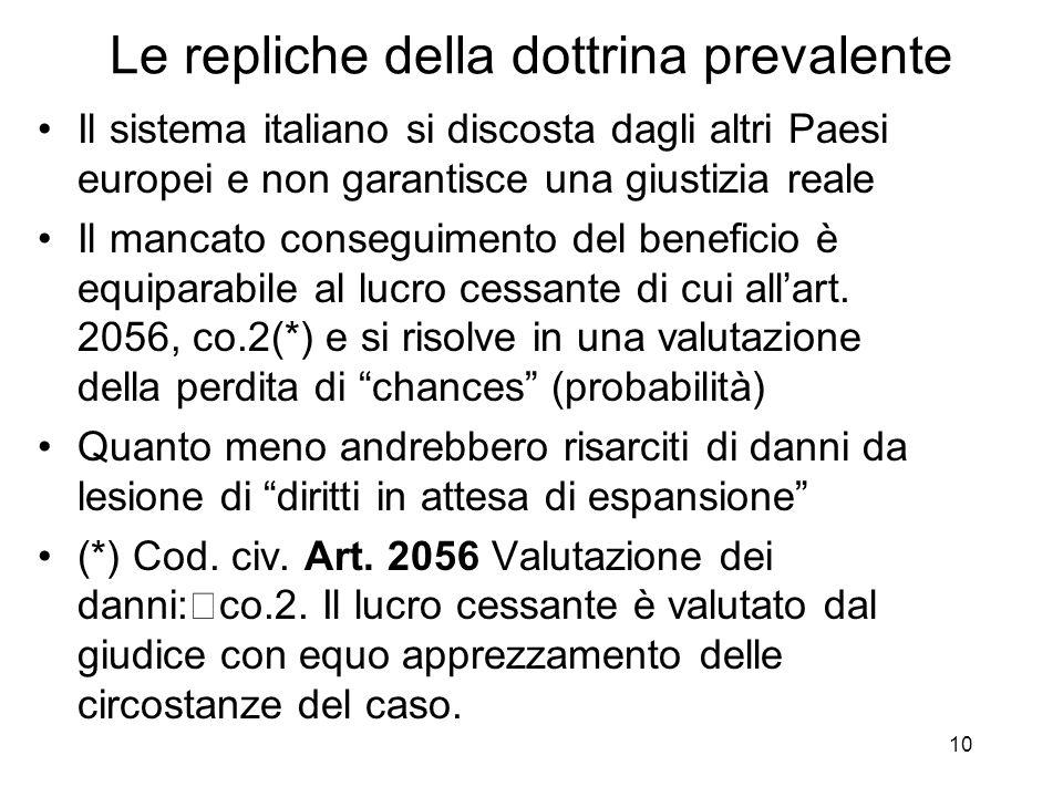 10 Le repliche della dottrina prevalente Il sistema italiano si discosta dagli altri Paesi europei e non garantisce una giustizia reale Il mancato conseguimento del beneficio è equiparabile al lucro cessante di cui allart.
