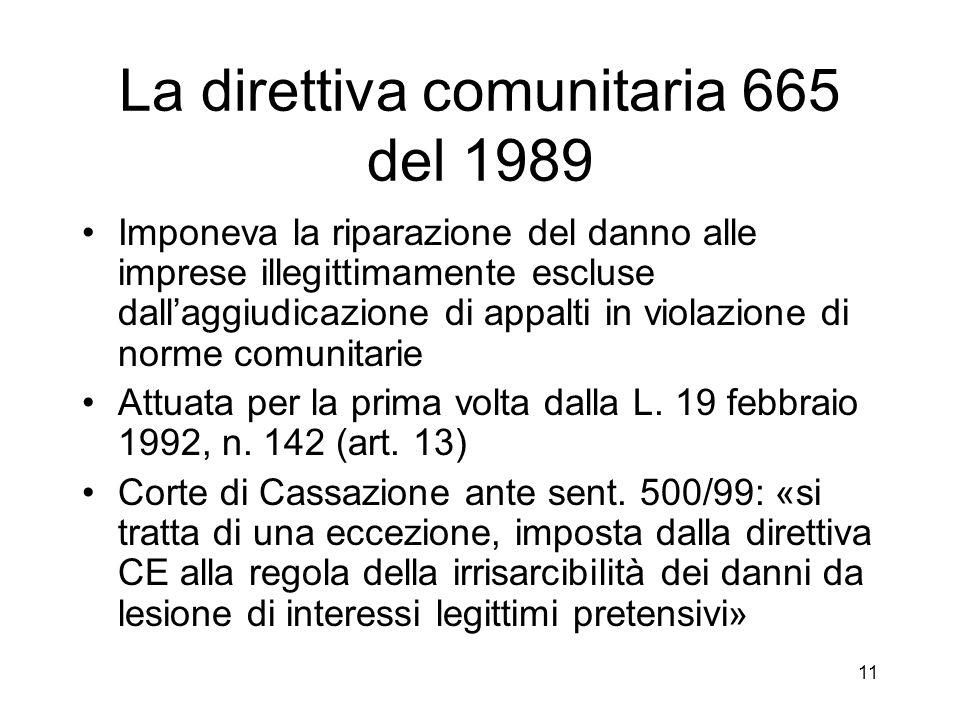 11 La direttiva comunitaria 665 del 1989 Imponeva la riparazione del danno alle imprese illegittimamente escluse dallaggiudicazione di appalti in violazione di norme comunitarie Attuata per la prima volta dalla L.