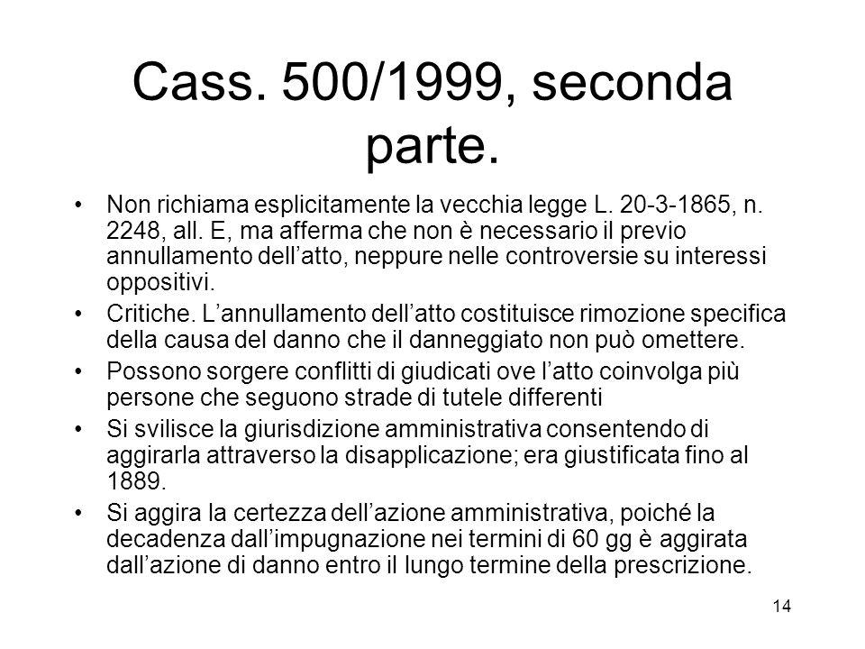 14 Cass. 500/1999, seconda parte. Non richiama esplicitamente la vecchia legge L. 20-3-1865, n. 2248, all. E, ma afferma che non è necessario il previ