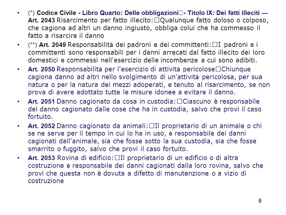 (*) Codice Civile - Libro Quarto: Delle obbligazioni - Titolo IX: Dei fatti illeciti Art. 2043 Risarcimento per fatto illecito: Qualunque fatto doloso
