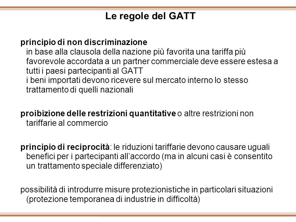 Le regole del GATT principio di non discriminazione in base alla clausola della nazione più favorita una tariffa più favorevole accordata a un partner