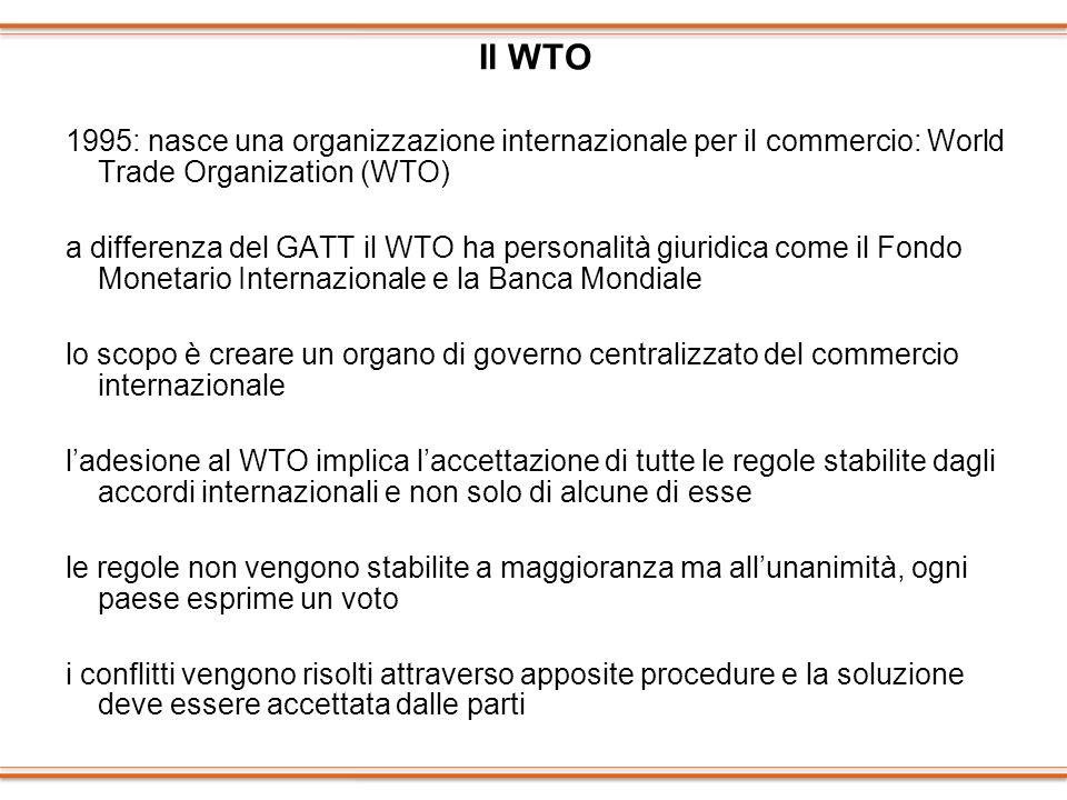 Il WTO 1995: nasce una organizzazione internazionale per il commercio: World Trade Organization (WTO) a differenza del GATT il WTO ha personalità giur