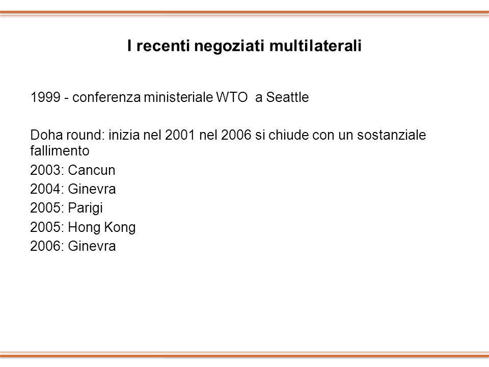 I recenti negoziati multilaterali 1999 - conferenza ministeriale WTO a Seattle Doha round: inizia nel 2001 nel 2006 si chiude con un sostanziale falli