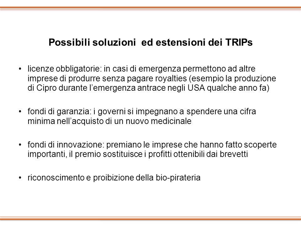 Possibili soluzioni ed estensioni dei TRIPs licenze obbligatorie: in casi di emergenza permettono ad altre imprese di produrre senza pagare royalties