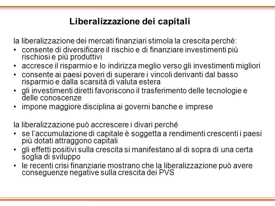 la liberalizzazione dei mercati finanziari stimola la crescita perché: consente di diversificare il rischio e di finanziare investimenti più rischiosi
