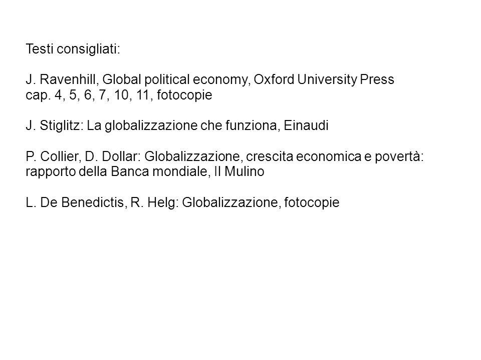 Testi consigliati: J. Ravenhill, Global political economy, Oxford University Press cap. 4, 5, 6, 7, 10, 11, fotocopie J. Stiglitz: La globalizzazione